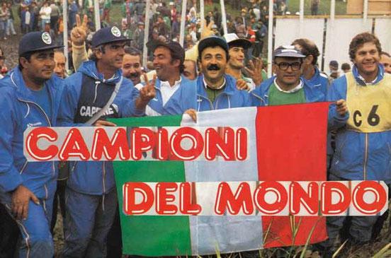 1986 Campioni del Mondo in Francia con i soci della Cannisti Castel Maggiore : Fiorenzo Franchini, Renzo Tinarelli.