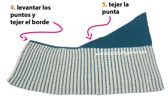 Tutorial: capa con punta doblada tejida en dos agujas o palitos