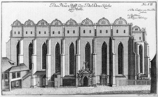 """Ansicht der Domkirche in Halle aus der """"Dreyhauptschen Chronik"""" (1749/50)"""