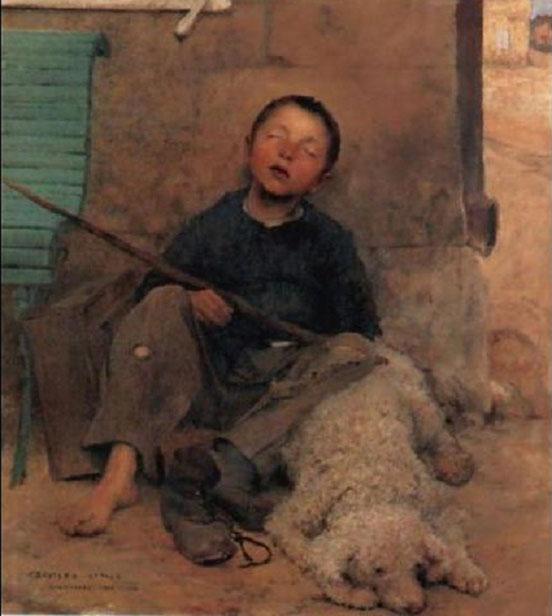 """"""" LE PETIT COLPORTEUR ENDORMI"""" . Jules BASTIEN-LEPAGE (1848 + 1884)."""