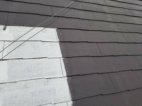 養老町、大垣市、平田町、南濃町、海津町、上石津町、輪之内町で屋根カラーベスト塗装工事中の屋根塗装工事専門店。養老町船附で屋根カラーベスト塗装工事/中塗り作業中