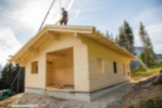 Almhütte Holzbau Blockbau Holzbau Herbst