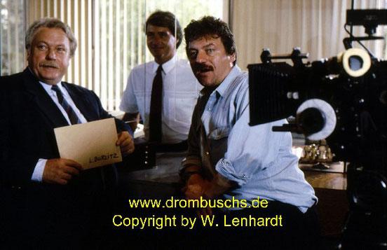 Günter Strack, Reiner Mühlhausen und Michael Werllin bei Dreharbeiten 1986