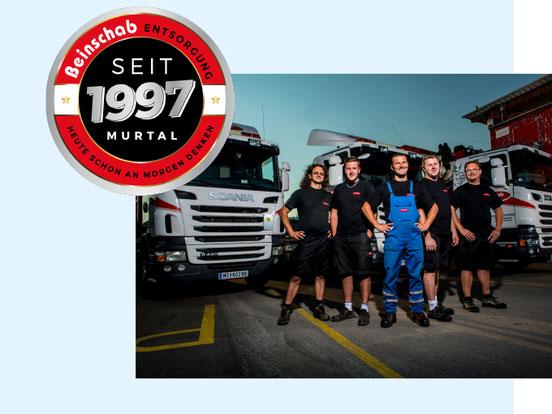 Wolfgang und Stefan Beinschab mit dem Team Transport bzw. Containerservice