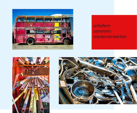 Alteisen, Buntmetalle, Metallschrott, Metallröhren, Eisentopf, Bus