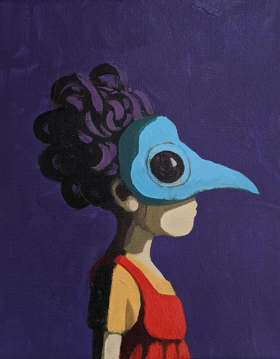 bird - Acryl auf Leinwand, 30x24cm, 2020
