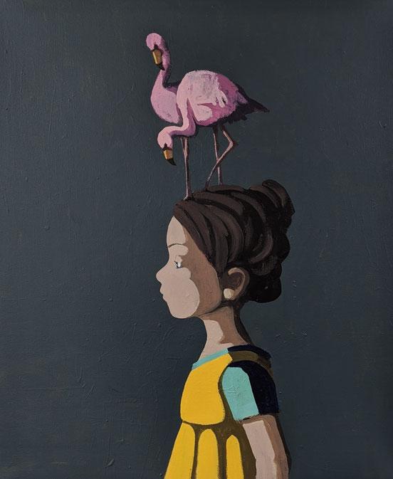 flamingirl - Acryl auf Leinwand, 60x50cm, 2020
