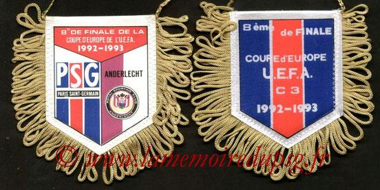 Fanion  PSG-SC Anderlecht  1992-93