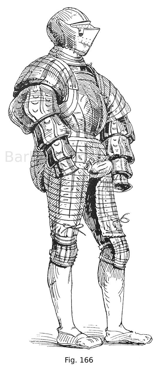 Fig. 166. Zierharnisch, in welchem die geschlitzte Tracht der Zeit nachgeahmt wird, des kaiserlichen Feldhauptmanns Wilhelm von Roggendorf (1481—1541). Der Helm gehört zur Garnitur, aber nicht zum vorliegenden Harnisch, zu welcher eine Landsknechthaube be