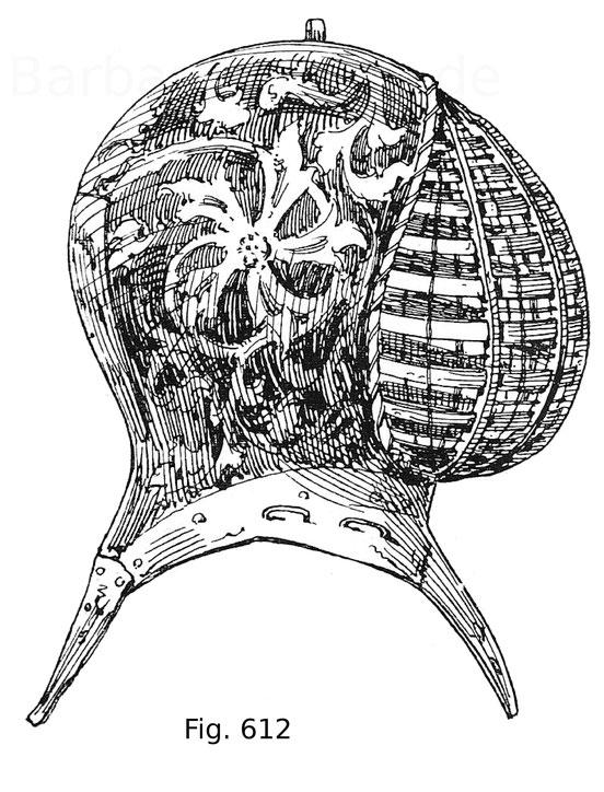 Fig. 612. Turnierhelm für das Kolbenturnier zu Ross, bestehend aus einem Eisengestell, welches mit gesottenem Leder überzogen und in Temperatechnik bemalt ist. Der vordere Teil ist mit einem Gitter aus Eisenspangen und Draht geschützt. Um 1480. Sammlung M