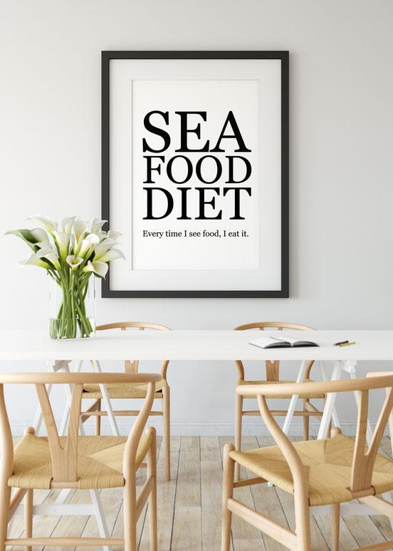 Wanddeko Kunstdruck mit Spruch Diät