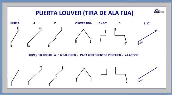 PUERTA LOUVER (TIRA DE ALA FIJA) EN 7 FUNCIONALES MODELOS