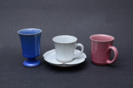 るり釉ゴブレット 白瓷コーヒー碗 桃彩釉マグカップ