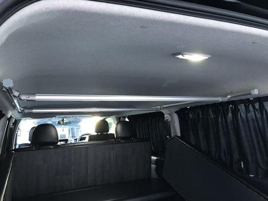 ハイエース天井収納には、トランポプロのルーフフレームが便利です!
