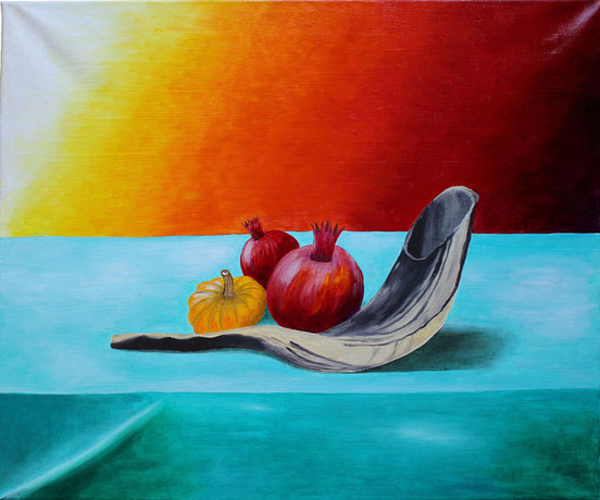 Stilleben mit Schofar/still life with shofar, Öl auf Leinwand/oil on canvas, 50x60 cm.