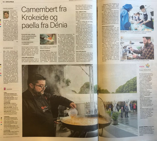 La prensa noruega se hizo eco de la visita. En la imagen Bati Bordes preparando un arroz
