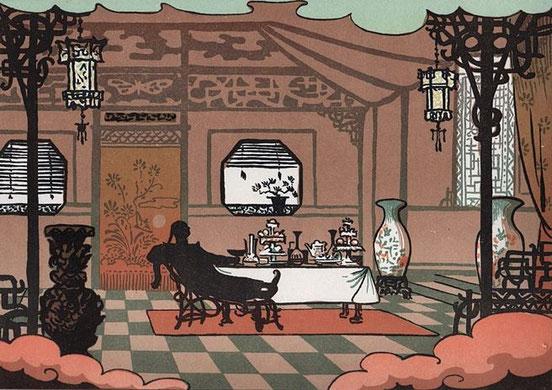 Après le festin. Lucien Métivet (1863-1932) : Aladin. Ombres chinoises en quinze tableaux. Flammarion, Paris, 1904 Première représentation en février 1904 au Théâtre des Mathurins, dir. Jules Berny.