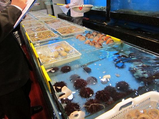 店内の水槽にはたくさんの生きた海鮮が!(2010年5月撮影)
