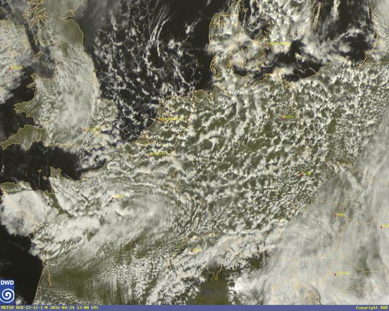 Abb. 2 | Typisches Satellitenbild bei wechselhaftem Schauerwetter. | © Deutscher Wetterdienst
