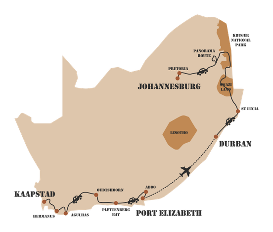 Rondreis Zuid-Afrika Safari Bobotie Reizen Kaart Zuid-Afrika route