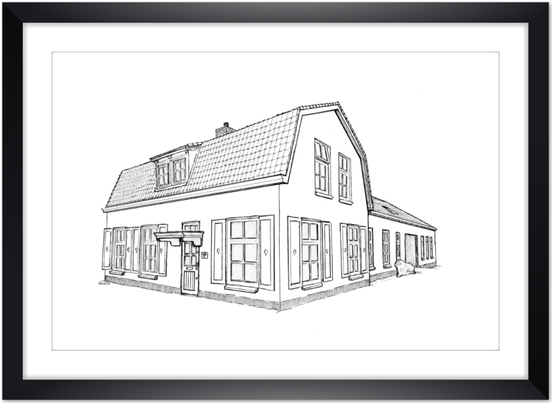 House portrait,  huisportret Potlood en Pen   www.potloodenpen.nl  Erna Sinnige
