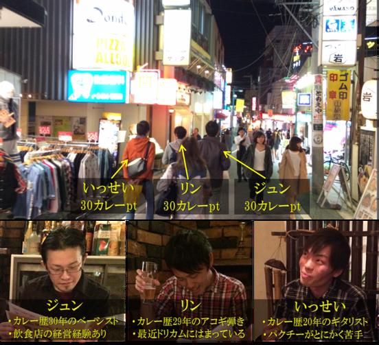 下北沢カレーフェスで食べ歩きをする3人の男性