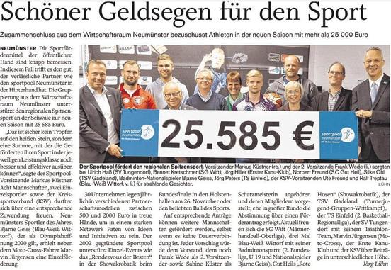 Förderungsübergabe an Sportler 2016 im Holsteinischen Courier vom 28.09.2016