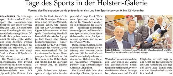 Vorbericht Tage des Sports im Holsteinischen Courier vom 04.10.2016