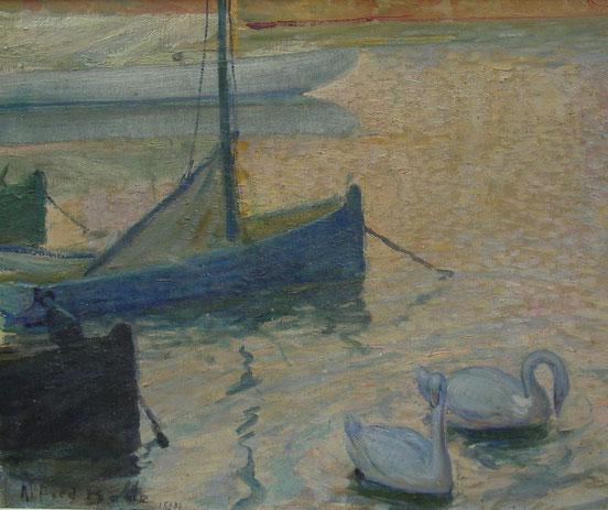 tableaux vaudois, huile sur toile, paysage vaudois, peintre vaudois, peintre, nu, lac Léman, barque, Alfred Bolle, peintre de Morges, Morges