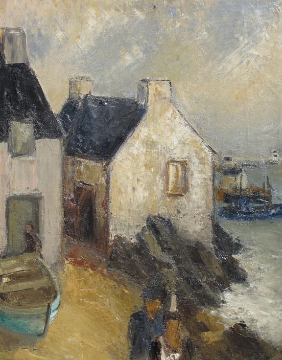 paysage breton, tableaux vaudois, huile sur toile, paysage vaudois, peintre vaudois, peintre, nu, lac Léman, barque, Raoul Domenjoz, marine, Lausanne, Musée