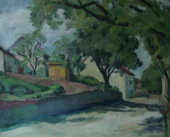 tableaux vaudois, huile sur toile, paysage vaudois, peintre vaudois, peintre, nu, lac Léman, barque, jean Apothéloz