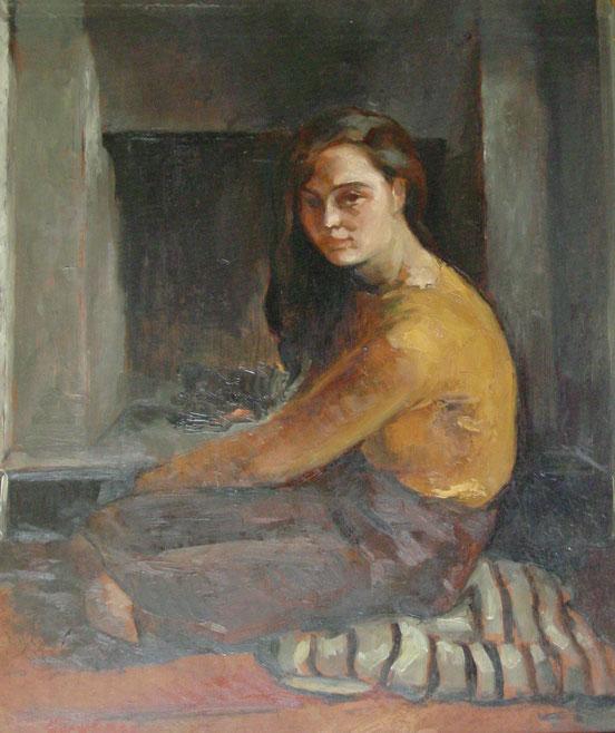 tableaux vaudois, huile sur toile, paysage vaudois, peintre vaudois, peintre, nu, lac Léman, barque, Guy Baer, peintres de Vevey, jeune fille assise