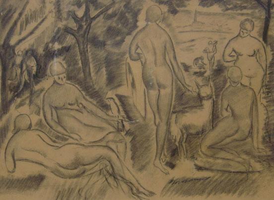 tableaux vaudois, huile sur toile, paysage vaudois, peintre vaudois, peintre, nu, lac Léman, barque, Alice Bailly, femme peintre, baigneuses