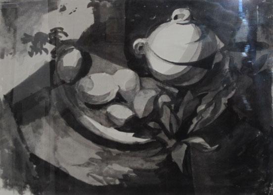 tableaux vaudois, huile sur toile, paysage vaudois, peintre vaudois, peintre, nu, lac Léman, barque, Géa Augsbourg, Géa, nature morte, caricature