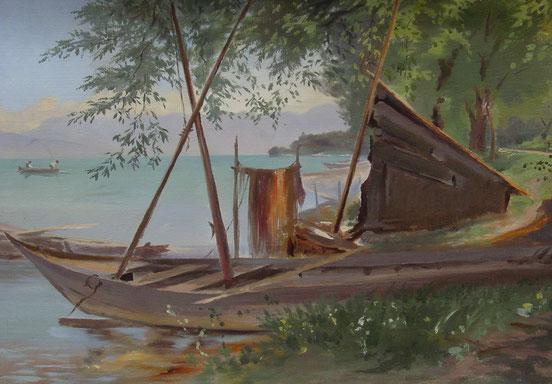 tableaux vaudois, huile sur toile, paysage vaudois, peintre vaudois, peintre, nu, lac Léman, barque, Emmeline Forel, femme peintre, barque de pêcheur