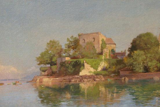 tableaux vaudois, huile sur toile, paysage vaudois, peintre vaudois, peintre, nu, lac Léman, barque, Johann Joseph Geisser, Aubonne, peintre du lac