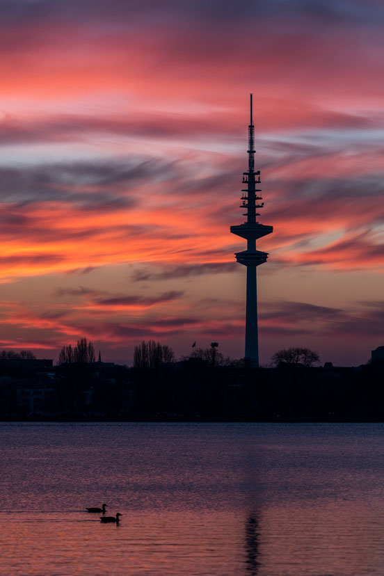 Heinrich-Hertz tower in Hamburg after sunset