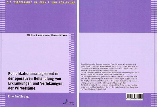Buchtitel von Prof. Rauschmann zu Komplikationen bei OP/Verletzung der Wirbelsäule