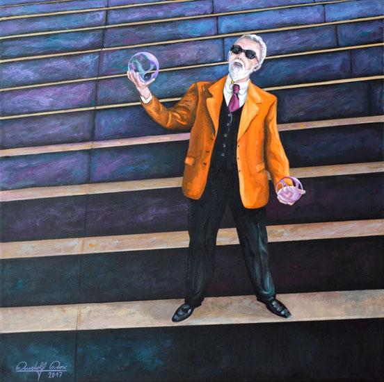 Mann mit zwei Kristallkugeln auf einem Monument. Ein in Acrylfarben gemaltes Gemälde zum Thema Orakel.