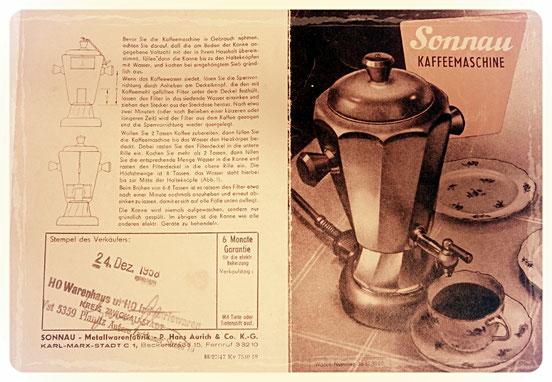 Sonnau Kaffeemaschine 1958