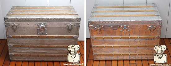 Malle Louis Vuitton aluminium 1892 Louis Vuitton FULL aluminum explorer trunk .