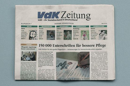 Bildbeschreibung: Foto der Titelseite der VDK Zeitung Ausgabe Mai 2014