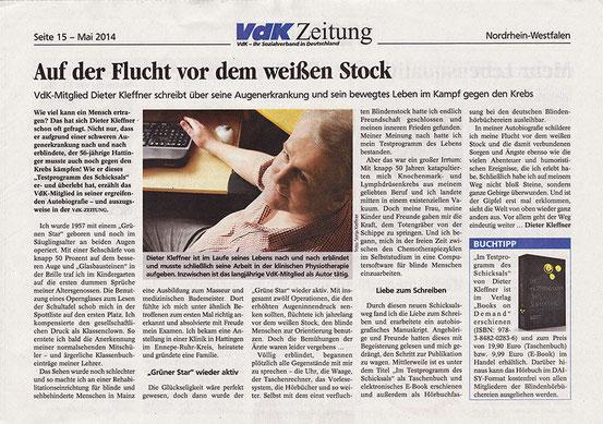 Bildbeschreibung: Foto des Artikels in VDK Zeitung Ausgabe Mai 2014