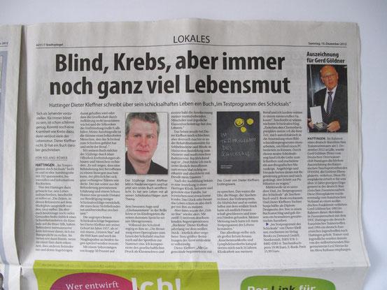 """Bildbeschreibung: Bericht im """"Stadtspiegel Hattingen"""" vom 15.12.2012"""