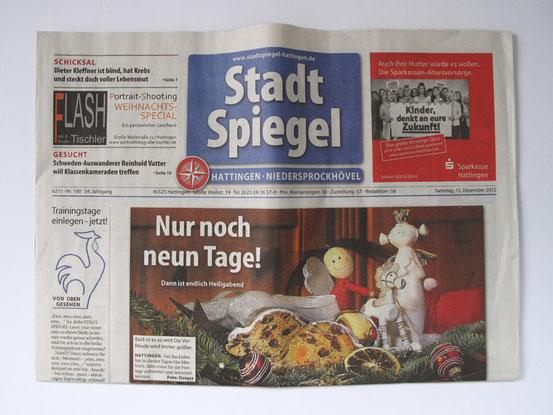 """Bildbeschreibung: Titelblatt """"Stadtspiegel Hattingen"""" vom 15.12.2012"""