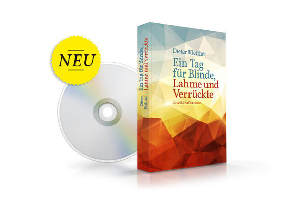 """Bildbeschreibung: Fotomontage des Taschenbuch-Covers und eines CD-Rohlings mit dem Hinweis """"Neu"""""""
