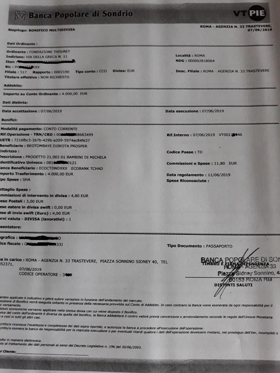Versamento per C.N. e SCUOLA AGRICOLA MAIMBA DEL 7.06.2019
