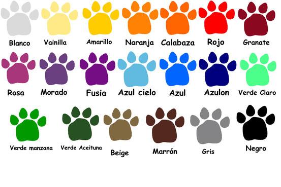 Los colores son orientativos