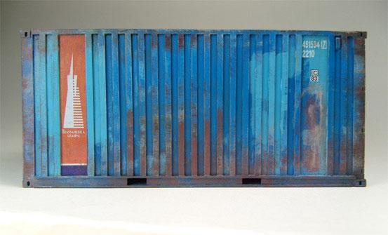 20' Dry Container im Livree der TransAmericanLeasing  Gesellschaft. Hier  mit ISO-Code vor 1996, etwas angegammelt, gebraucht und verwittert vom täglichen Einsatz in den 90er Jahren.