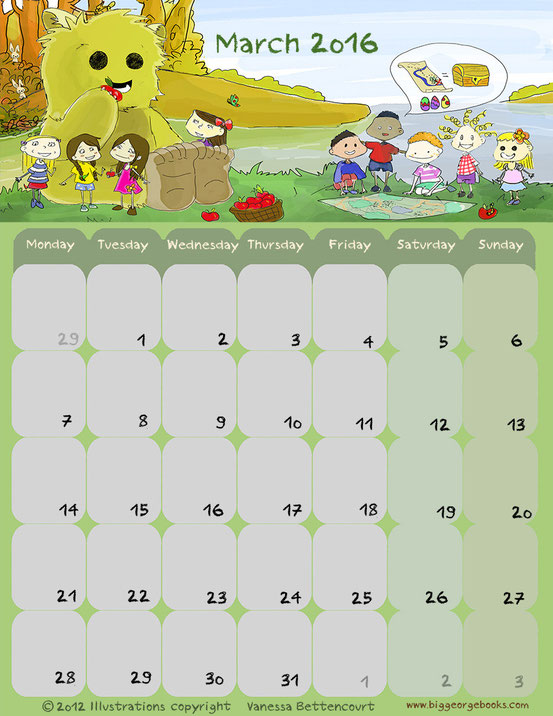 free calendar printable kids 2016 march classroom